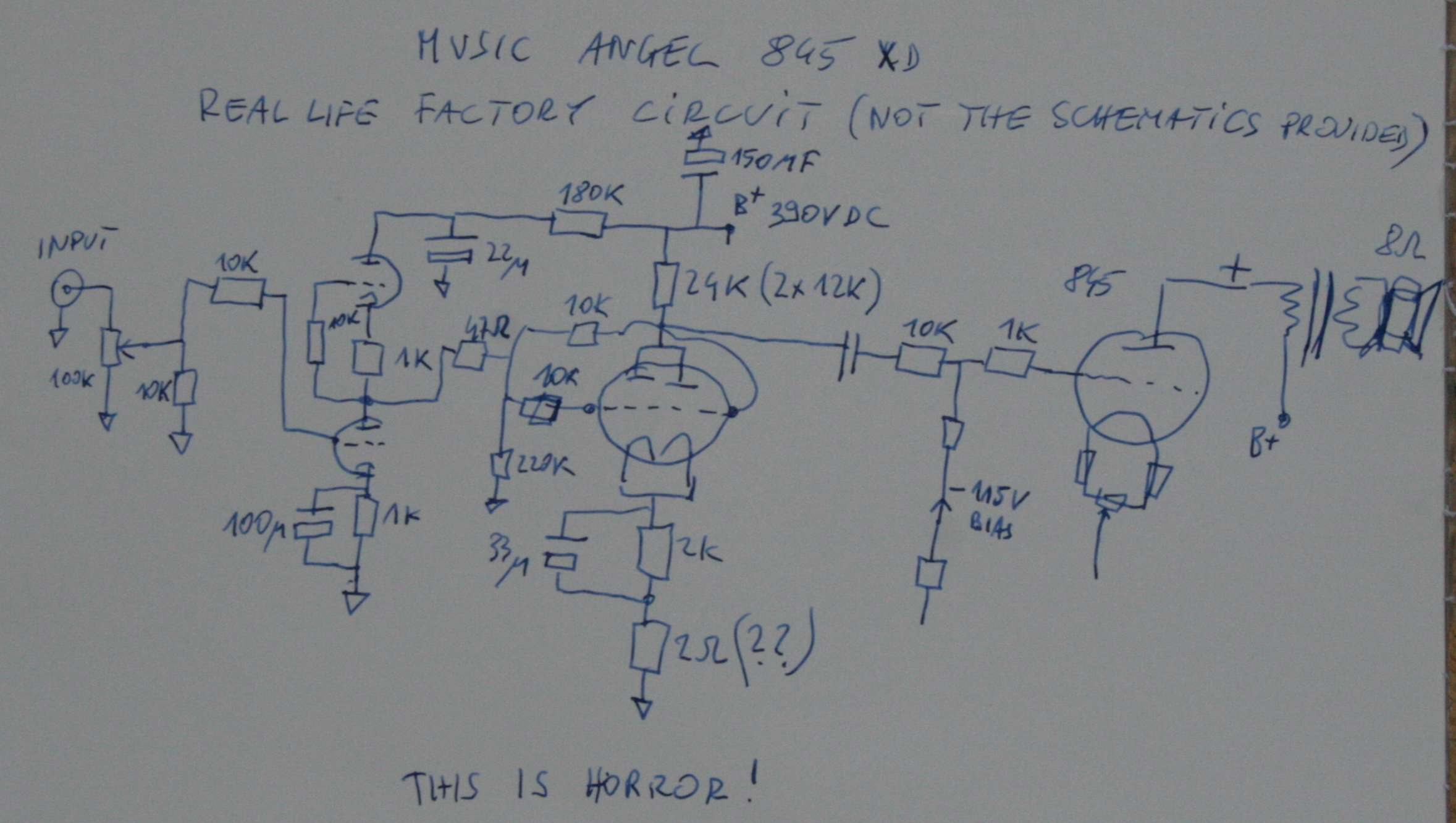 Set Triode Amplifier Music Angel 845 Hong Kong Audio Power Schematics 4w 8 Watt Amp Oryginal Real Life Drawing